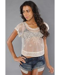 Free People | Natural Embroidered Mesh Crop Top | Lyst