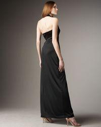 Halston - Black Long-slit Halter Gown - Lyst