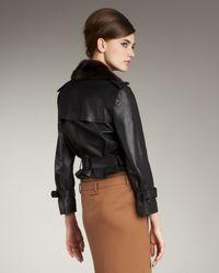 Jean Paul Gaultier | Black Mink-collar Leather Jacket | Lyst