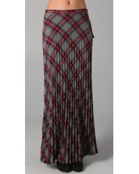 L.A.M.B. | Gray Long Pleated Plaid Skirt | Lyst