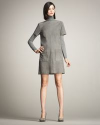 Lyn Devon | Gray Audrey Short-sleeve Suede Shift Dress | Lyst