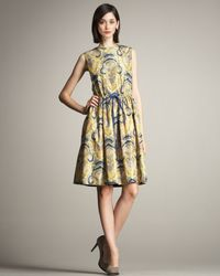 Lyn Devon | Yellow Sophie Paisley-print Dress | Lyst