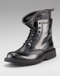 Prada | Black Wing-tip Boot for Men | Lyst