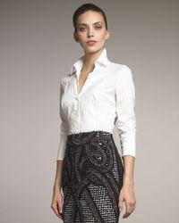 Rena Lange | White Taffeta Stretch Blouse | Lyst