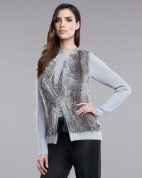 St. John | Gray Fur Vest | Lyst