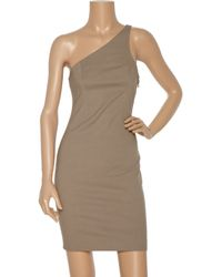 T By Alexander Wang | Brown Cotton-blend One-shoulder Dress | Lyst
