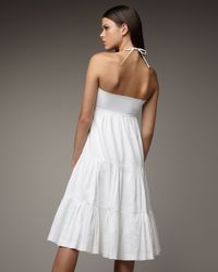 Theory - White Tiered Halter Dress - Lyst