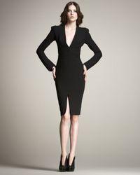 Zac Posen Black Long-sleeve Plunging-v Sheath Dress