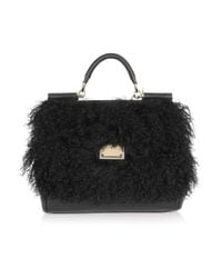 Dolce & Gabbana | Black Shearling and Leather Tote | Lyst