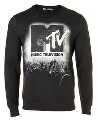 TOPMAN Black Mtv Crowd Sweatshirt for men