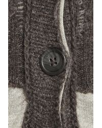 INHABIT Gray Cable-knit Wool-blend Cardigan