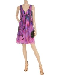 Matthew Williamson Purple Lotus-print Silk-chiffon Dress