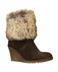Carvela Kurt Geiger Brown Squirrel Faux Fur Trim Suede Ankle Wedge Boots Grey