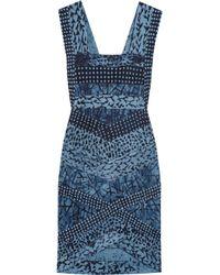 Hervé Léger | Blue Printed Bandage Dress | Lyst
