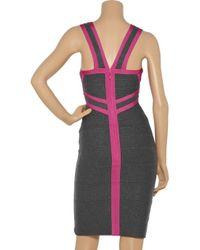 Hervé Léger Gray Contrast-trimmed Bandage Dress