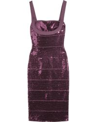 Hervé Léger Purple Sequined Bandage Dress