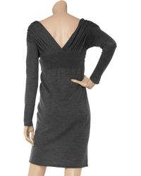 Philosophy di Alberta Ferretti Gray Knitted Wool Sweater Dress