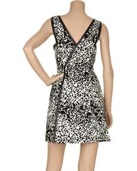 Tibi Multicolor Leather-trimmed Cotton-crepe Dress