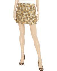 Robert Rodriguez Metallic Sequin and Bead Embellished Silk Skirt