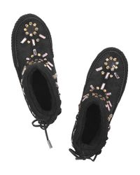 Tory Burch Black Embellished Shearling and Suede Moccasins