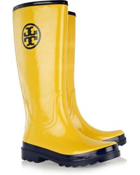 Tory Burch Yellow Wellington Boots