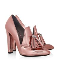 Alexander Wang Pink Anais Metallic Leather Loafer Pumps