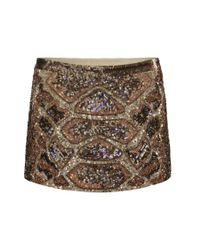 AllSaints | Brown Embellished Python Skirt | Lyst