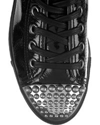 Miu Miu Black Patent-leather High-top Sneakers