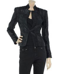 Hervé Léger Black Coated Faux Fur Jacket