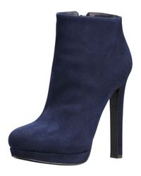 Alexander McQueen | Blue Suede Ankle Boot | Lyst