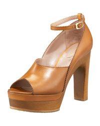 Chloé | Brown Peep-toe Platform Clog | Lyst