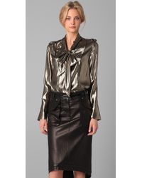 Derek Lam - Metallic Neck Tie Blouse - Lyst