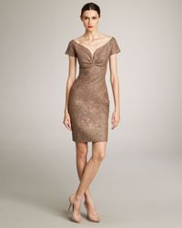 Dior Brown Sweetheart-neckline Tweed Dress