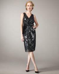 Elie Tahari | Metallic Tia Sequined Tie-waist Dress | Lyst