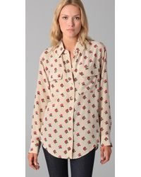Equipment - Pink Retro Floral Cluster Signature Blouse - Lyst