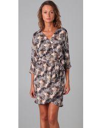 Halston | Brown Beaded Wrap Dress | Lyst