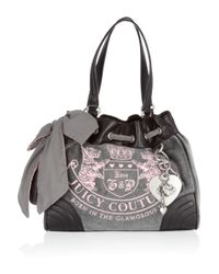 Juicy Couture Gray Embroidered Velour Tote
