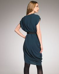 Lanvin | Green Asymmetric Draped Dress | Lyst