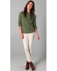 Le Mont St Michel - Green Angora Sweater with Denim Patches - Lyst