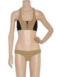 Lisa Marie Fernandez - Natural Camel Bustier Zipper Elisa Racer Back Bikini - Lyst