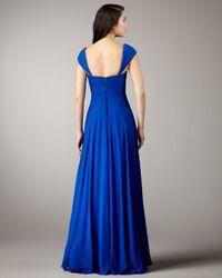 Notte by Marchesa - Blue Empire-waist Chiffon Gown - Lyst