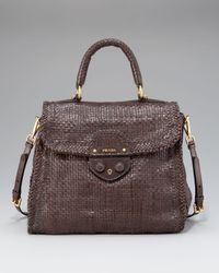 Prada | Brown Madras Woven Top-handle Satchel | Lyst