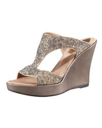 Rene Caovilla | Metallic Bejeweled Wedge Sandal | Lyst