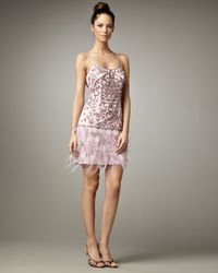 Sue Wong | Purple Beaded Feather Skirt Dress | Lyst
