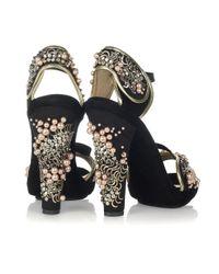 Vionnet Black Embellished Suede Sandals