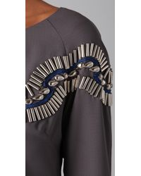Alice By Temperley - Gray Mini Monte Bead Embellished Crepe Dress - Lyst