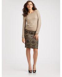 Alice + Olivia   Natural Crewneck Rhinestone Sweater   Lyst