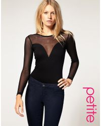ASOS Collection | Black Asos Petite Exclusive Long Sleeve Body with Mesh Detail | Lyst