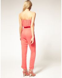 ASOS Collection - Brown Asos Petite Excluisve Jumpsuit with Pleated Bust - Lyst