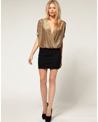ASOS Collection - Black Asos Petite Exclusive Wrap Dress with Metallic Top - Lyst